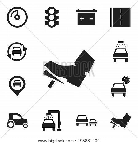 Set Of 12 Editable Transport Icons. Includes Symbols Such As Vehicle Wash, Car, Pinpoint And More