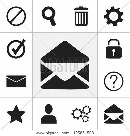 Set Of 12 Editable Web Icons. Includes Symbols Such As Profile, Mail, Deny And More