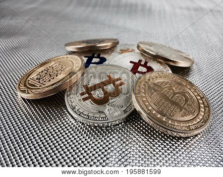 Colorful Bitcoin Coins