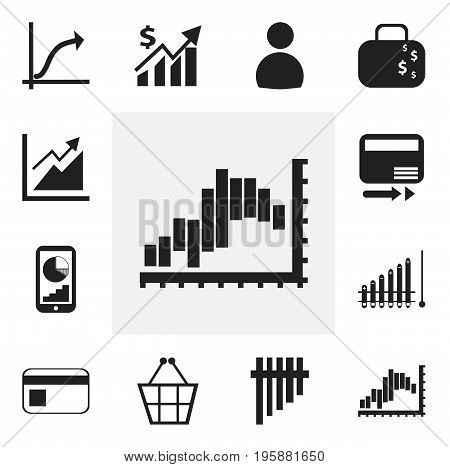 Set Of 12 Editable Analytics Icons. Includes Symbols Such As Pay Redeem, Increasing, Bank Payment And More