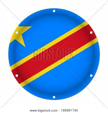 round metallic flag - Democratic Republic of the Congo with six screw holes in front of a white background
