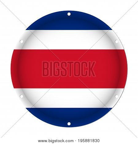 round metallic flag of Costa Rica with six screw holes in front of a white background