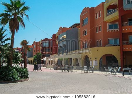 Beautiful architecture in Hurghada on the waterfront on the Red Sea .june2012.