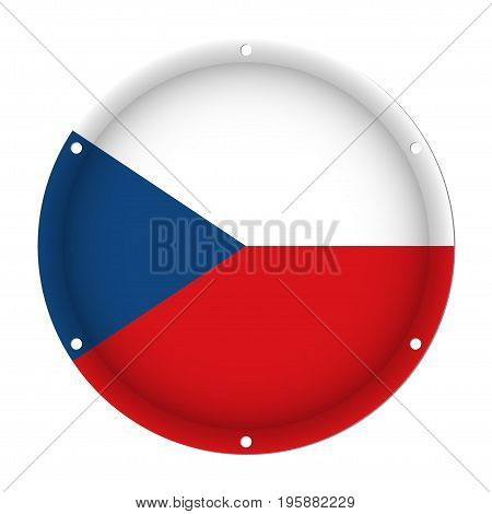 round metallic flag of Czech Republic with six screw holes in front of a white background