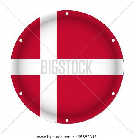 round metallic flag of Denmark with six screw holes in front of a white background