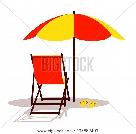 vector deck chair and flip flops under beach umbrella isolated on white background