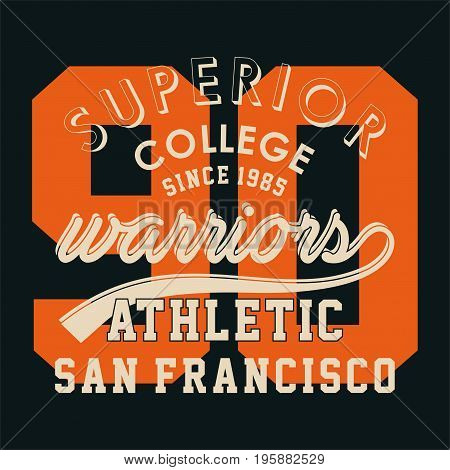 graphic design superior college warriors for shirt and print