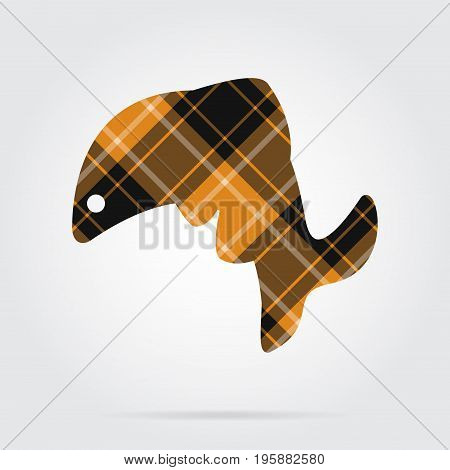 orange black isolated tartan icon with white stripes - jumping fish dolphin and shadow in front of a gray background