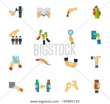 Gesture icon set. Plumber Braille book Chess Graffiti Head hunting Raising money Bidder E-payment Job contract Usb plug Depicting hands Break Network socket Online payment Sign language Remote control