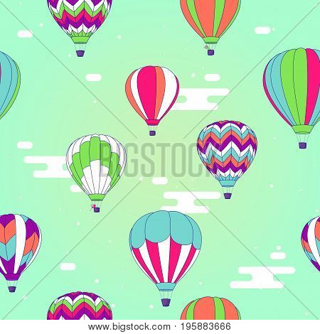 Vector seamless pattern decorative bright illustration of hot air balloons