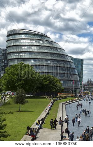 LONDON, UK - JUNE 7 , 2017: City Hall is the headquarters of the Greater London Authority and it is located in Southwark, on the south bank of the River Thames near Tower Bridge