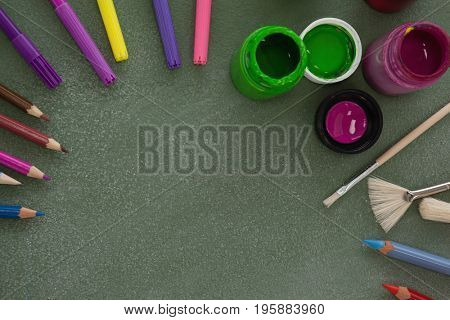 Overhead view of various drawing equipment on chalkboard