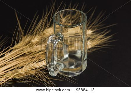 Empty beer glass on a black background. Ripe ears of wheat barley beer glass.