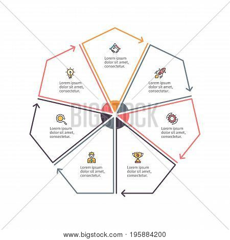 Outline heptagon with 7 parts, sections for infographics.