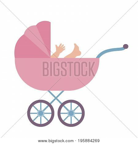 Baby stroller with baby. Colored vector illustration on white background