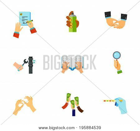 Hands icon set. Signing job contract Graffiti spray Depicting hands Pipe repair Braille book Bidder hand Sign language Raising money Medical test