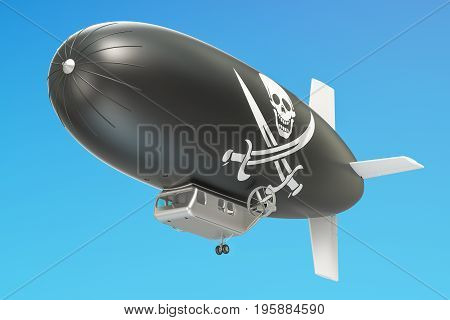 Airship or dirigible balloon with piracy flag 3D rendering