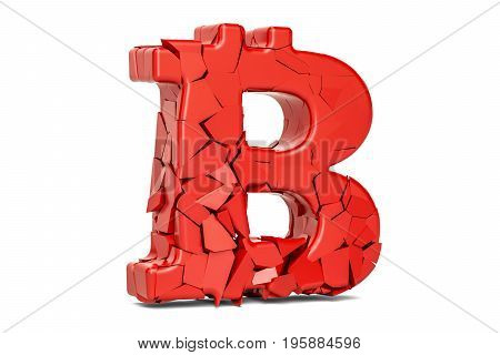 Broken Bitcoin Symbol 3D rendering isolated on white background