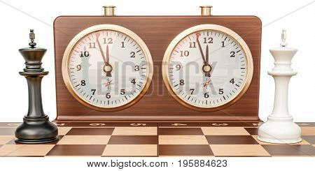 Checkerboard with kings and chess clock confrontation concept. 3D rendering isolated on white background