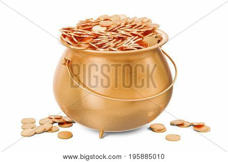 Pot of golden coins 3D rendering isolated on white background