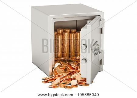 Safe box with heap of golden coins 3D rendering isolated on white background