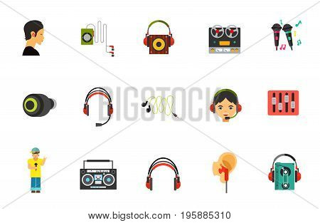 Earphones icon set. Wireless earphones Player Recorder Karaoke Professional headphones Little earphones Headset Mini headphones Hotline Equalizer Singer Boom blaster Online chat Cassette player