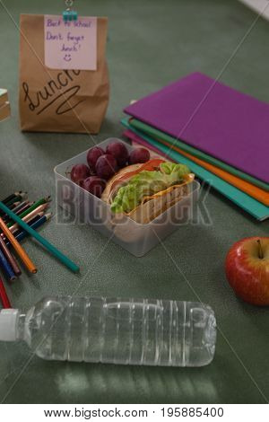 School supplies and lunch box arranged on chalkboard