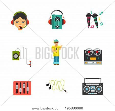 Music equipment icon set. Headset Earphones with cassette player Earphones with player Reel tape deck stereo recorder Equalizer Mini earphones Boom blaster. Contains bonus icon of Karaoke and Rapper
