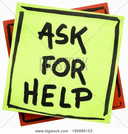 Ask for help advice or reminder - handwriting on an isolated sticky note
