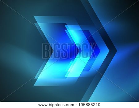 Digital technology glowing blue arrows, modern geometric abstract background with light effects and place for your message
