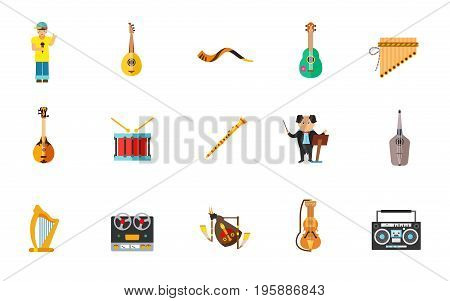 Musical instruments icon set. Bouzouki Shofar Ukulele Antara Dombra Drum Clarinet Panduri Irish harp Dudy Suka. Contains bonus icons of Rapper Kapellmeister Reel tape cassette recorder Boom blaster