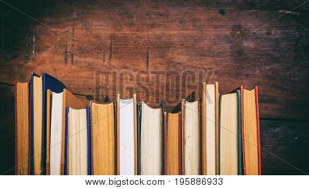 Vintage Books On Wooden Background - Copy Space