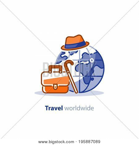 Travelling around the world, briefcase and earth globe, tourism services, tour package, vacation destination vector illustration
