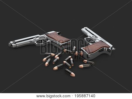 3D Illustration Of Pistols Gun With Bullets, Isolated Black
