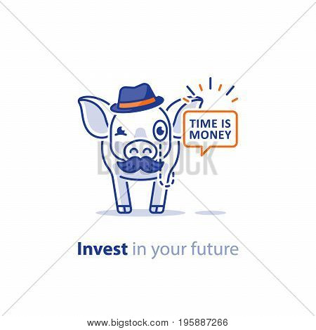 Wise old pig with mustache and hat, financial advice vector illustration, time is money, future investment in pension