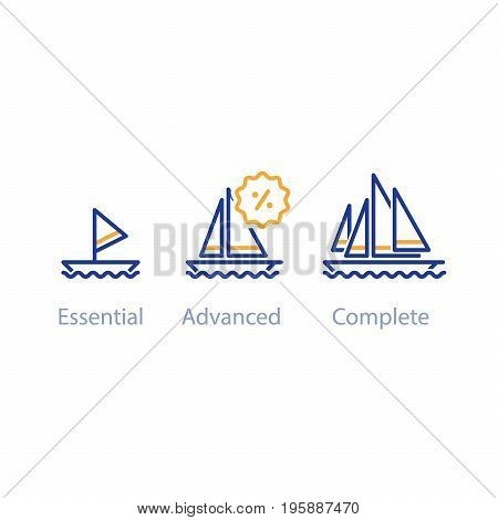 Upgrade or improvement concept with ships, small and big boat comparison, three yachts options, best choice, vector line icons