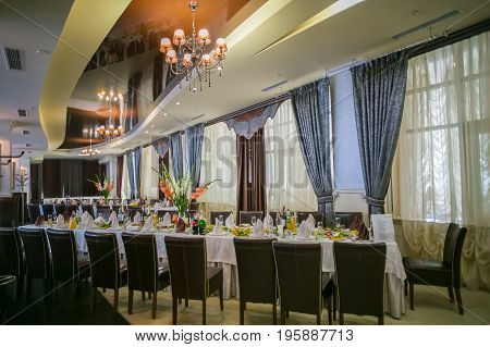 A banquet hall, a wedding hall, a beautiful interior for the wedding
