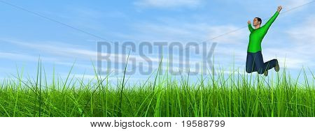 High resolution 3d human jumping happy in a green grass over a blue sky with clouds