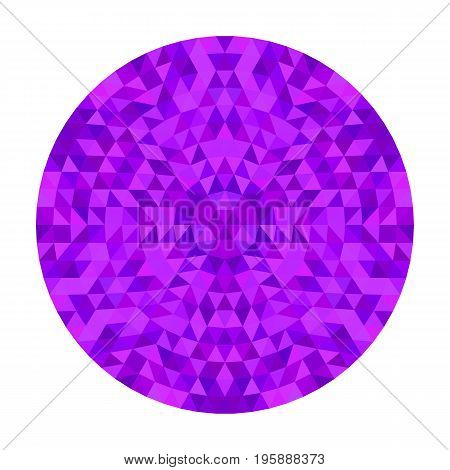Round purple geometrical triangle kaleidoscope mandala design - symmetrical vector pattern digital art from colorful triangles