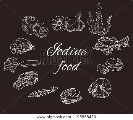 Iodine food vector sketch set, white contour on chalkboard, medicine infographics or diet concept, persimmon, feijoa, sea bass, milk, carrot, garlic, walnut, salmon steak, pea, mussel, shrimp, seaweed