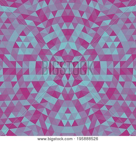 Round geometric triangle kaleidoscope mandala background - symmetrical vector pattern design