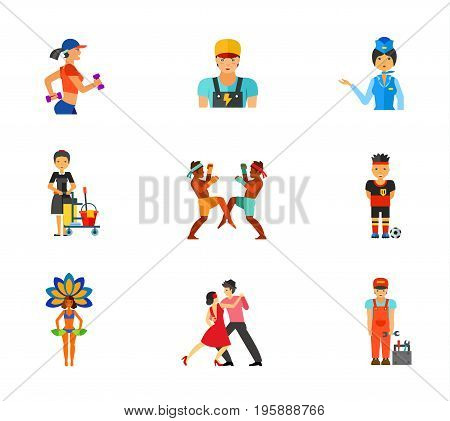 Occupation icon set. Woman jogging Electrician Stewardess Cleaning service worker Thai boxers Football player Brazil carnival performer Tango dancers Plumber