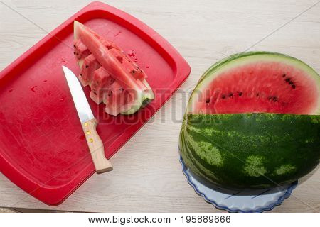 Refreshing desserts of watermelon. juicy and tasty watermelon on table Summer and fresh watermelon topic