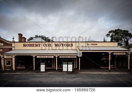MALDON, AUSTRALIA - February 19 2017: Historic Victorian architecture of a car mechanic in the old gold mining town of Maldon, Victoria, Australia