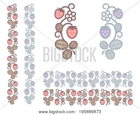 Strawberry colored stem with berries flower and leaves. Design ornament elements