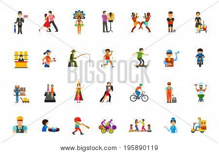 People icon set. Englishman Dancers Designer Athletes Housemaid Post office Fisherman Skateboarder Delivery man Biker Postal storage Fashion model Mechanic Chef Washing Stewardess Delivery service