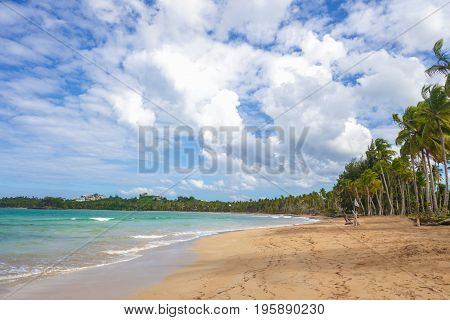 incredible Tropical caribbean beach with breathtaking color of the sea. Vacation concept. Dominican Republic