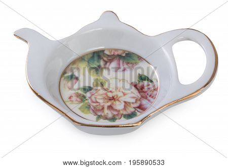 Little Saucer In Shape Of Teapot For Tea Bag. Rich Decorated Of Floral Pattern, Isolated On A White.