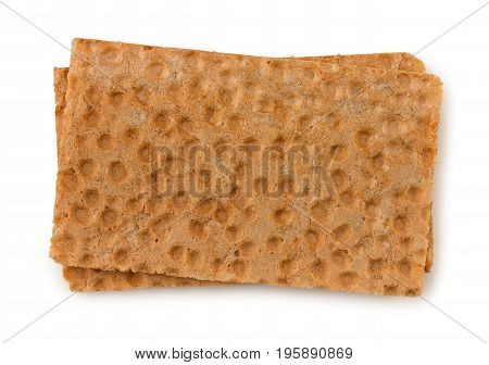 Two Plates Of Crispbread Isolated On White Background, Top View.
