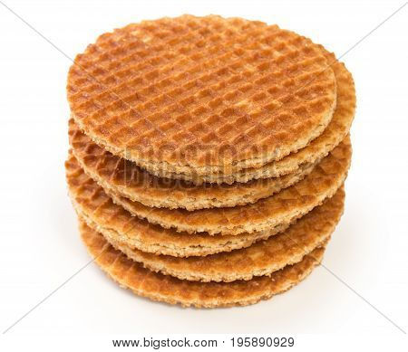 Stack Of Round Dutch Waffles With Caramel Isolated On White Background.